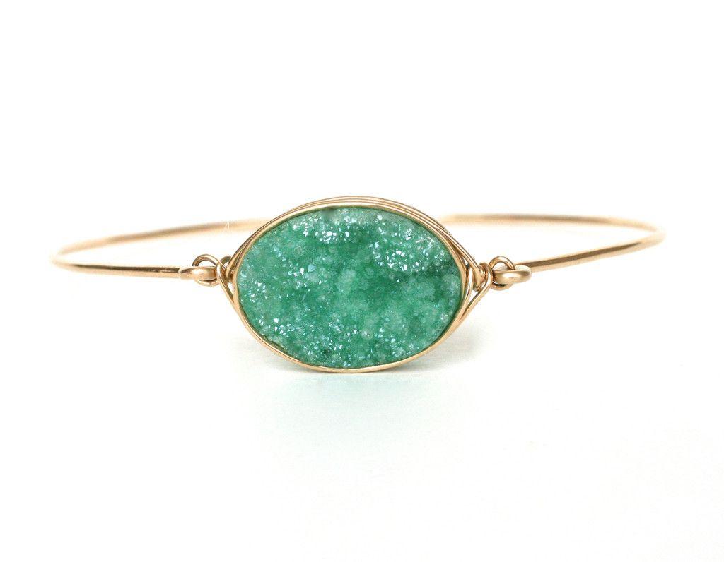 Green with Wrennvy Oval Druzy Bangle Bracelet – Wrenn Jewelry