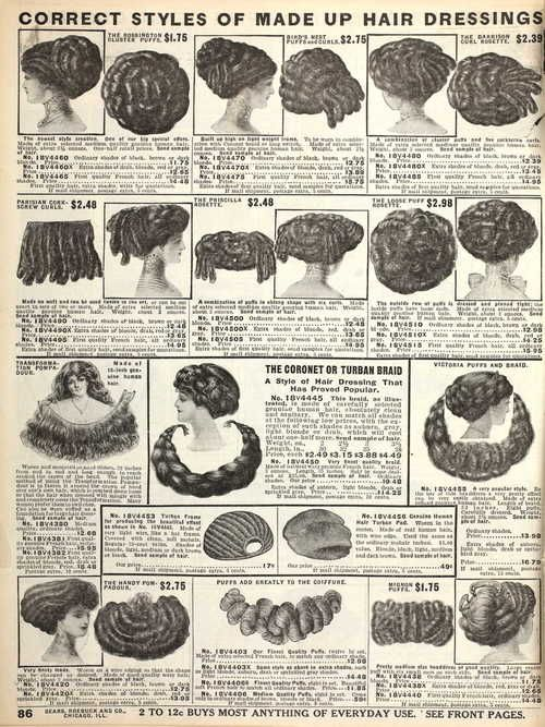 weirdvintage: Hair Pieces, Fall 1910 Sears Catalogue Ye olde sock buns.