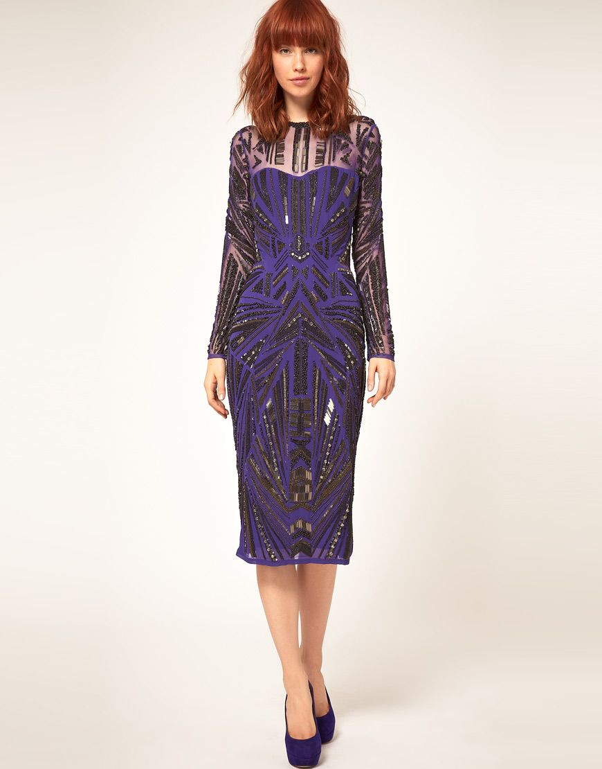 ASOS: Midi Dress with Heavy Embellishments in Grape | My Style ...
