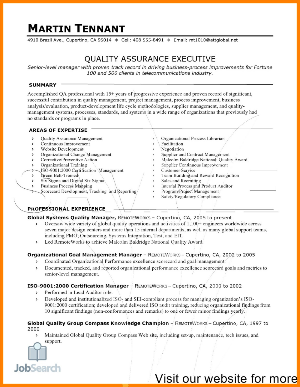 Software Quality Assurance Resume Examples 2020 Software Quality Assurance Resume Examples Software In 2020 Resume Examples Executive Resume Template Resume Software