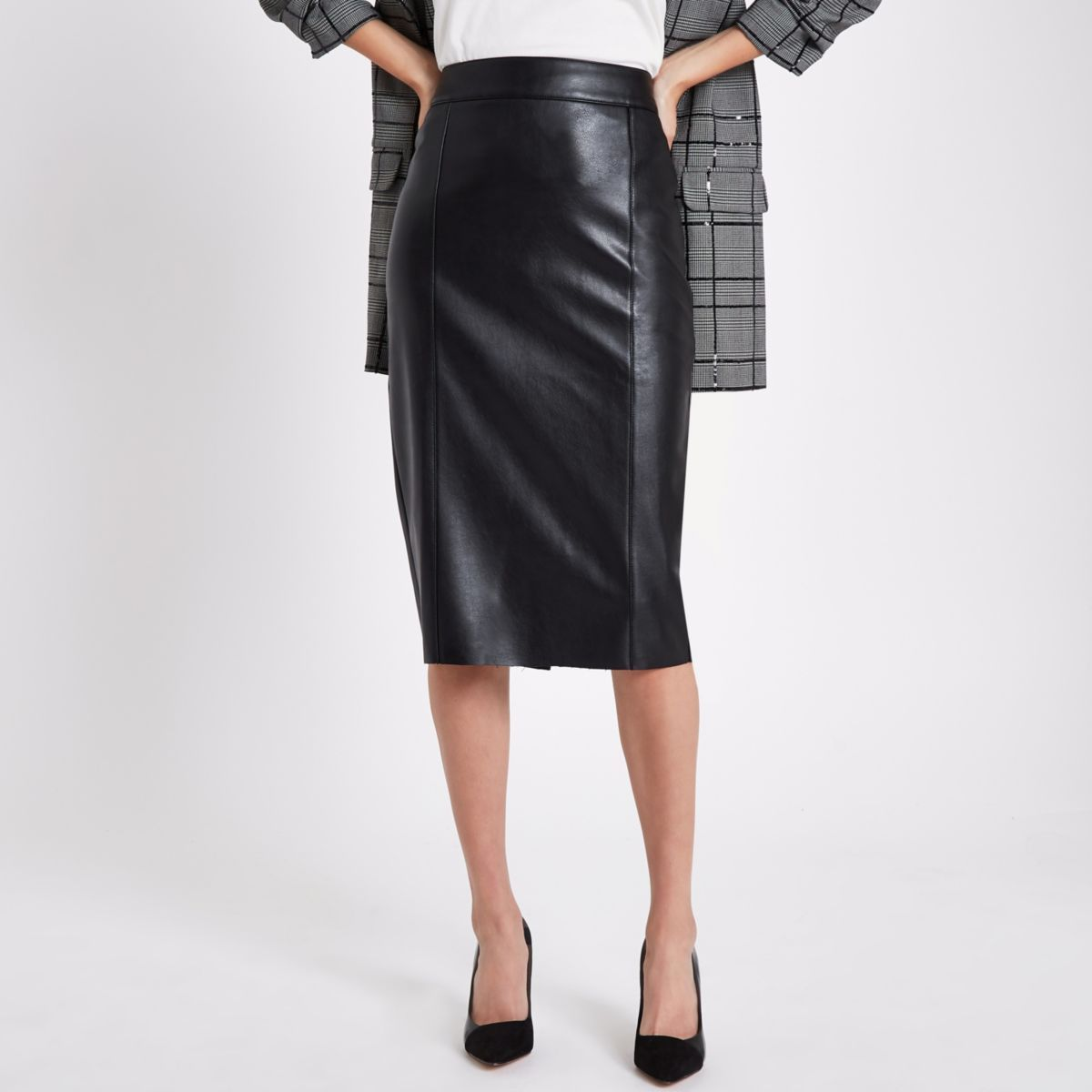 save off low cost size 7 Black faux leather pencil skirt | Faux leather pencil skirt ...