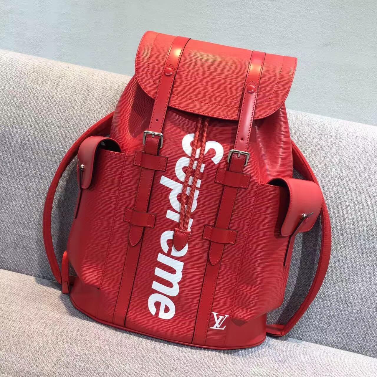 Louis Vuitton x Supreme Epi Leather Christopher PM Backpack Red 2017 ... c49d6945af587