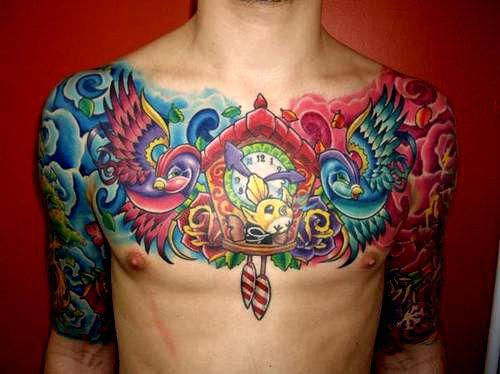 Very Colorful Tattoo Cartoon Cool Chest Tattoos Tattoos Polynesian Tattoo