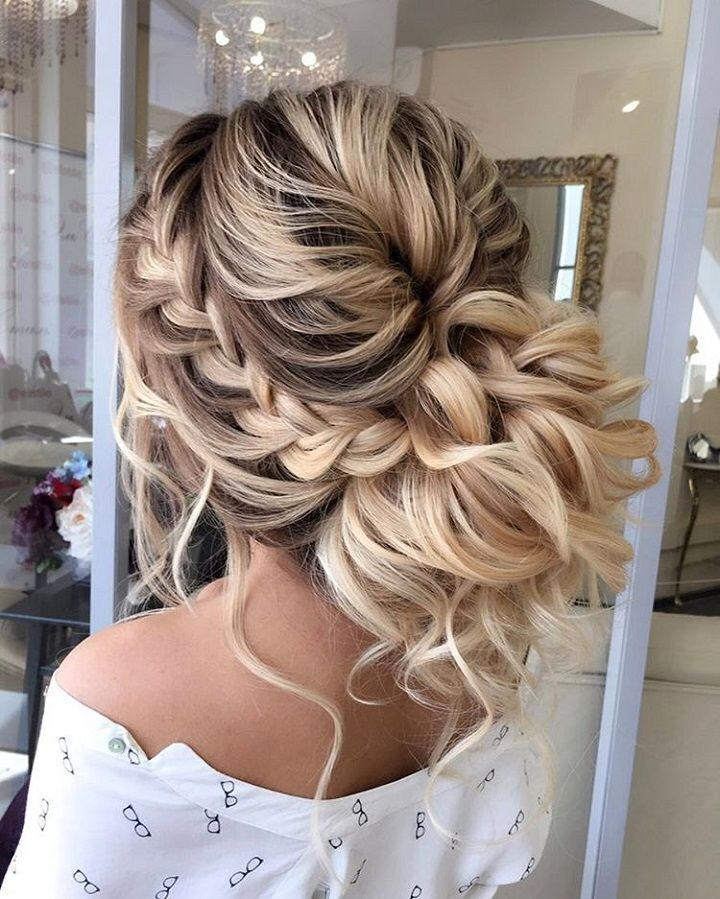 Hairstyles For Wedding Guest casual messy bun Beautiful Braided Updos Wedding Hairstyle