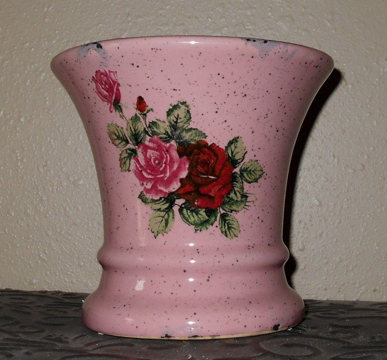 Ceramic Flower Pot Pink Flower Pot Shabby Chic Flower Pot Red