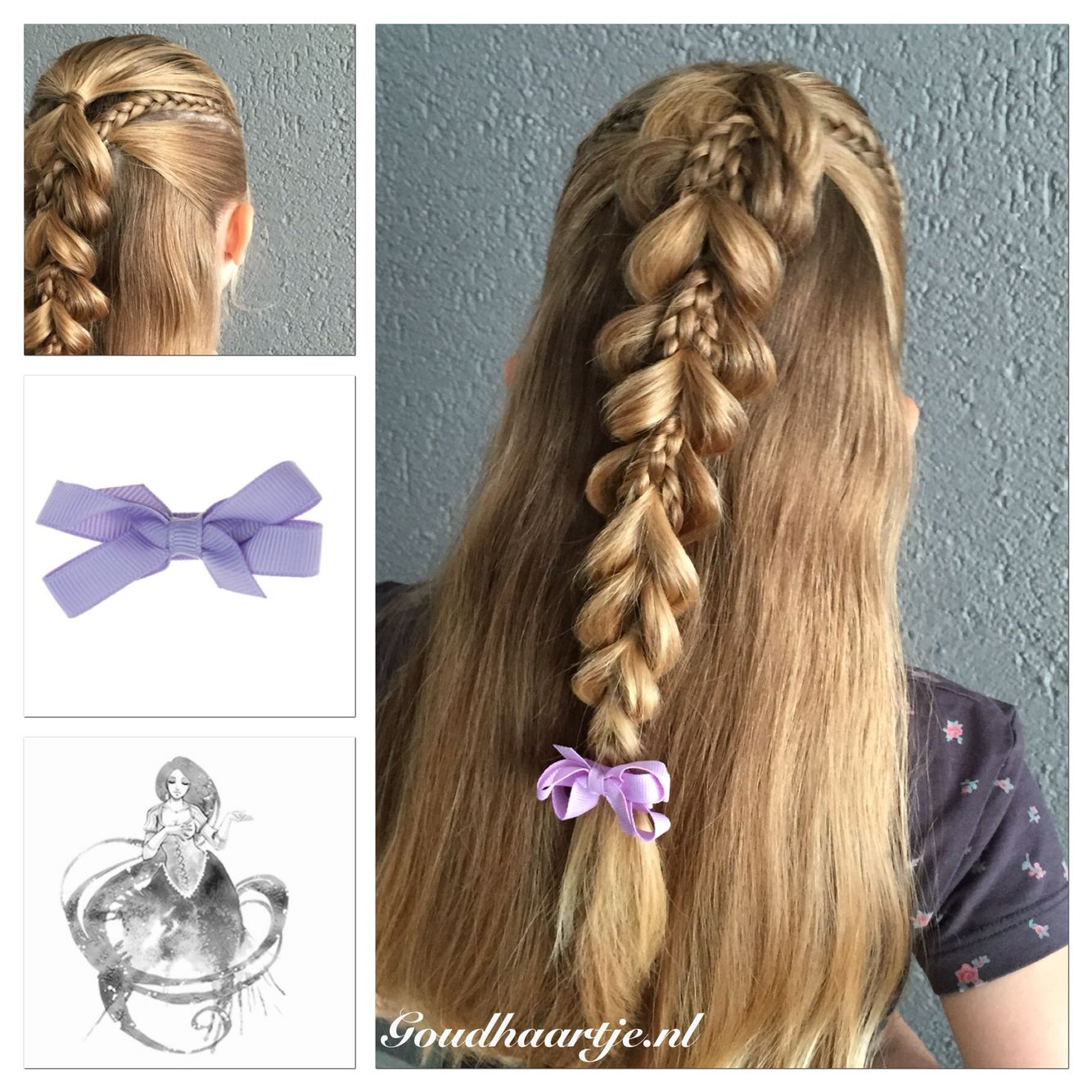 Pull through braid with microbraids and a cute bow from goudhaartje