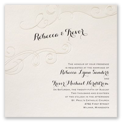 Flourish in Pearl Wedding Invitation by David's Bridal. #davidsbridal #weddinginvitations #blacktiewedding
