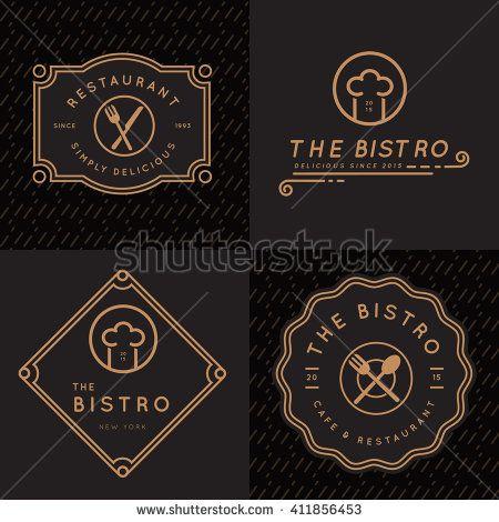 set of vintage badges banner labels and logos for food restaurant foods shop and catering in linear design vector illustration