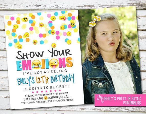 Emoji Birthday Invite Emoticon invite with Photo by Meghilys on – Baby Birthday Invite