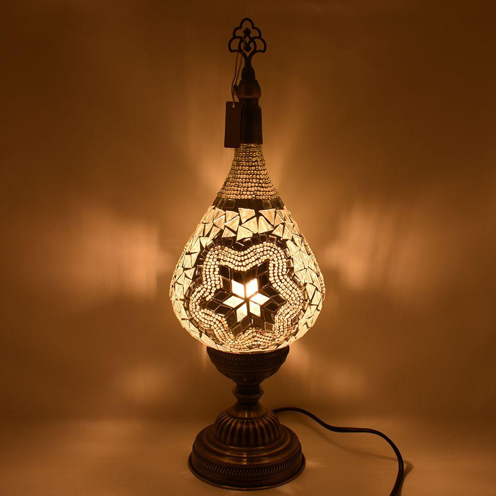 Turkish Table Lamp Teardrop Silver Lamp Candelabra Light