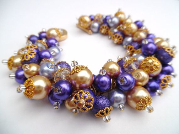 Purple Pearl Bracelet Bridesmaid Jewelry Purple & by KIMMSMITH