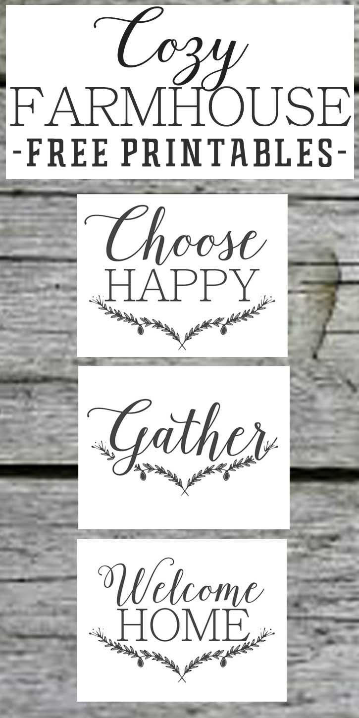 Farmhouse Free Printable SetGatherChoose JoyWelcome Home
