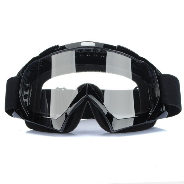 Super Black Motorcycle Cycling Bicycle Bike ATV Motocross Ski Snowboard Off-road Goggles Sports GLASSES Eye Clear Lens color Men