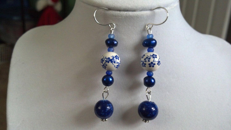 0175 blue beaded earrings by TieDyedDaisy on Etsy, $8.00