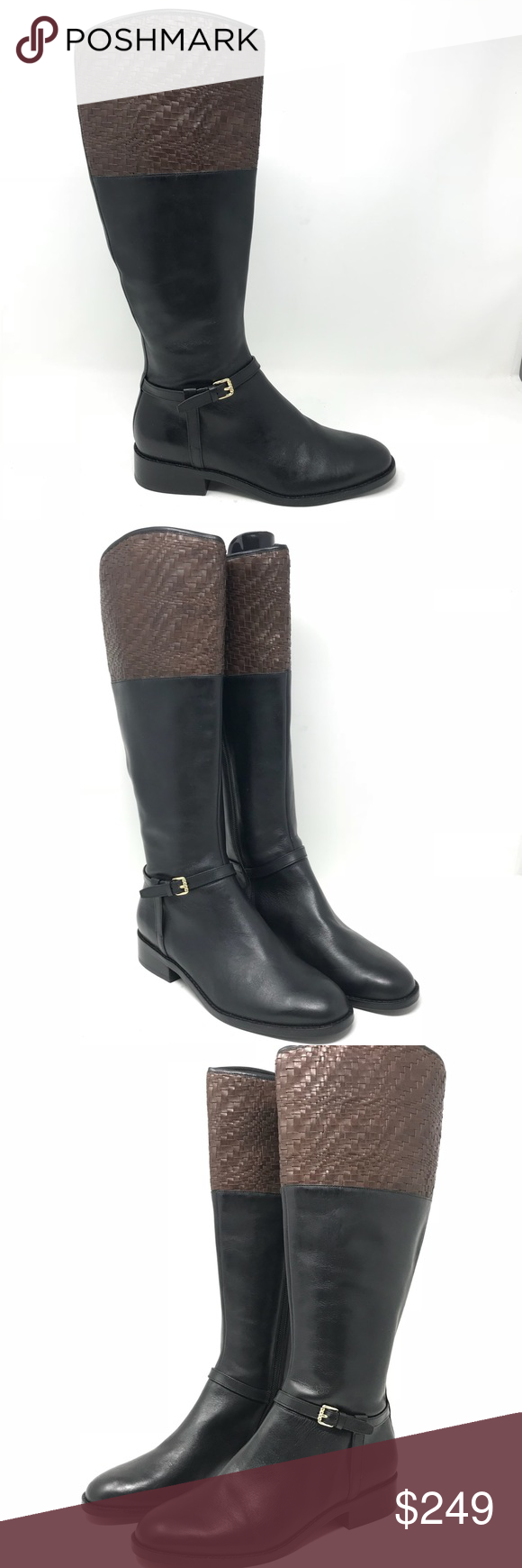 1826d7d3f6 Cole Haan Genevieve Woven Cuff Riding Boots Sz 7 Cole Haan Grand OS  Genevieve Sz 7