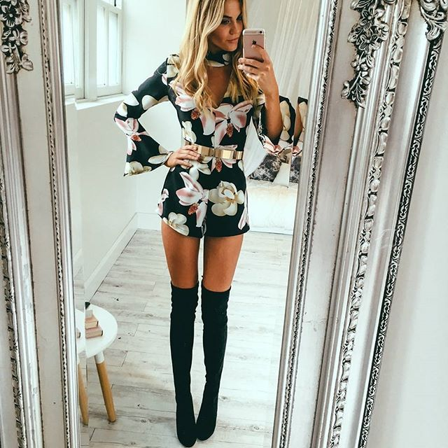 d6da90e654 Black long sleeve floral playsuit