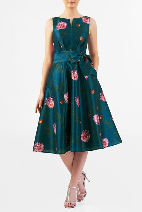 319b8f899ebe Can be ordered Maxi length. I <3 this Floral print dupioni midi dress from  eShakti