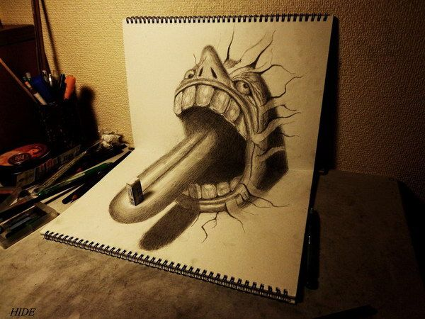 3d drawing tongue on book http hative com 50 amazing
