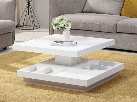 Table Basse Fausto Plateau Pivotant Mdf Laque Blanc Table Basse Table Basse Salon Table Basse Moderne