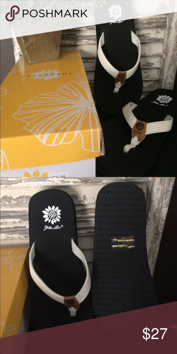 25188fd41e0 Yellow Box Lollie White NWT Flip Flop Super Cute and Comfortable Flip Flops.  New in Box. Size 7 Yellow Box Shoes Sandals