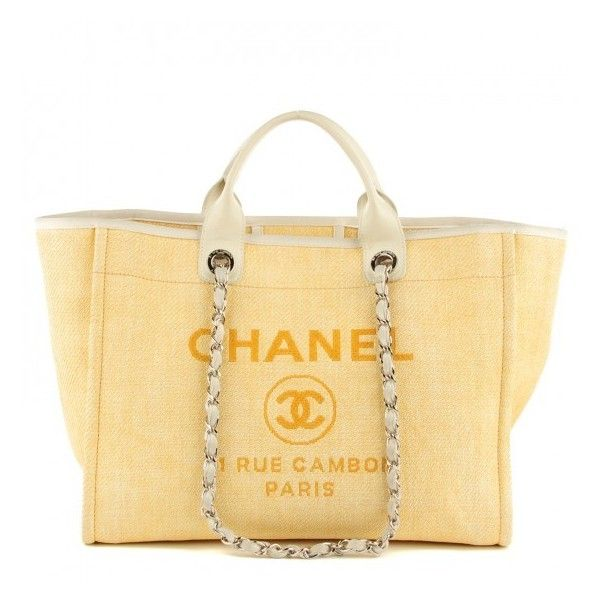 f3879ab31de879 CHANEL Woven Straw Raffia Large Deauville Tote Yellow ❤ liked on Polyvore  featuring bags, handbags, tote bags, zippered tote, zip tote bag, zip tote,  ...