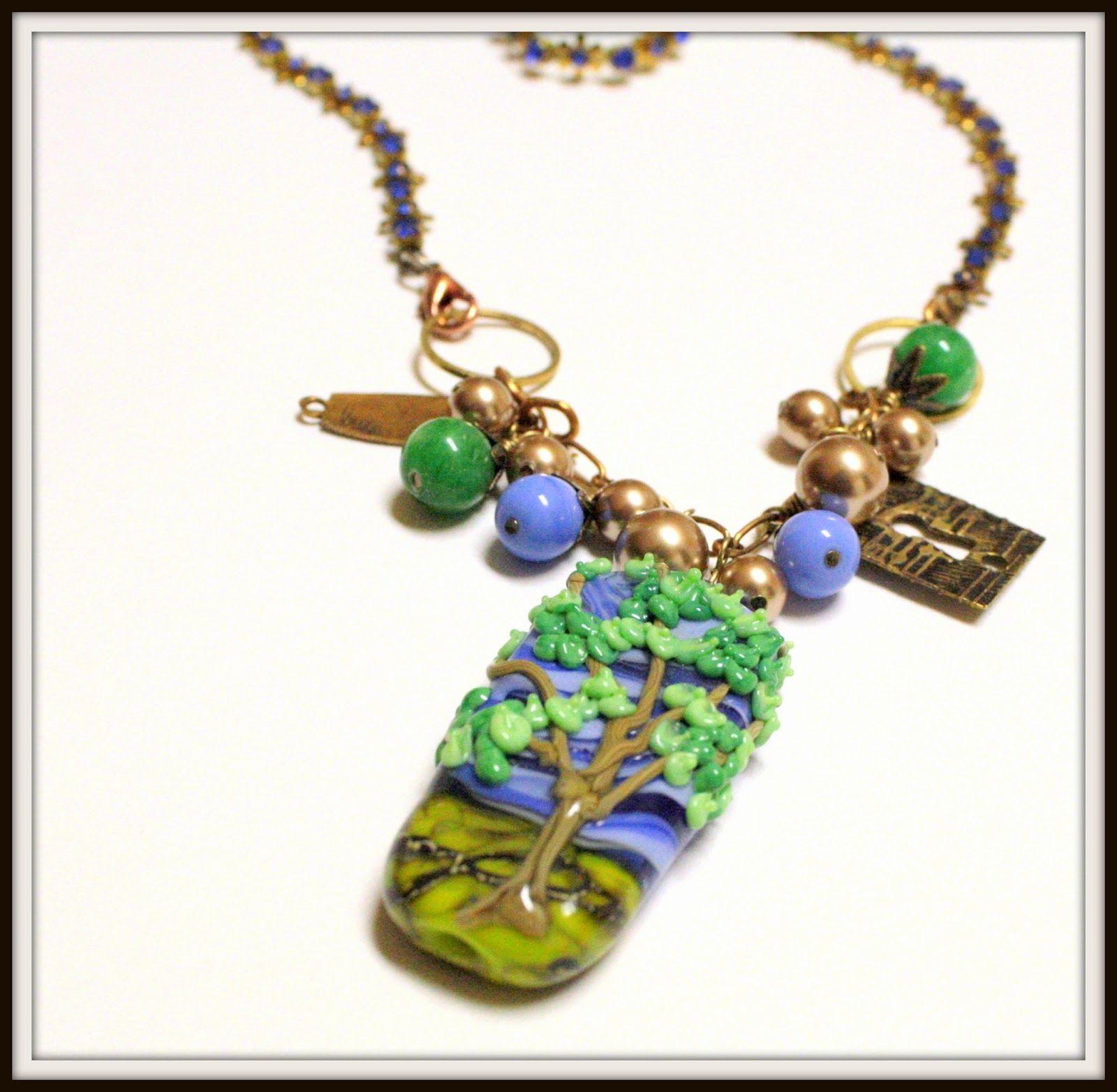 OOAK Tree focal on a vintage blue Swarovski necklace