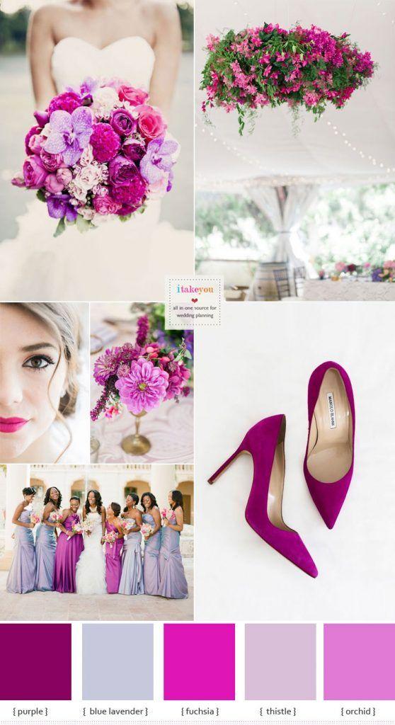 Shades Of Purple And Fuchsia Wedding Colour Theme Fuchsia