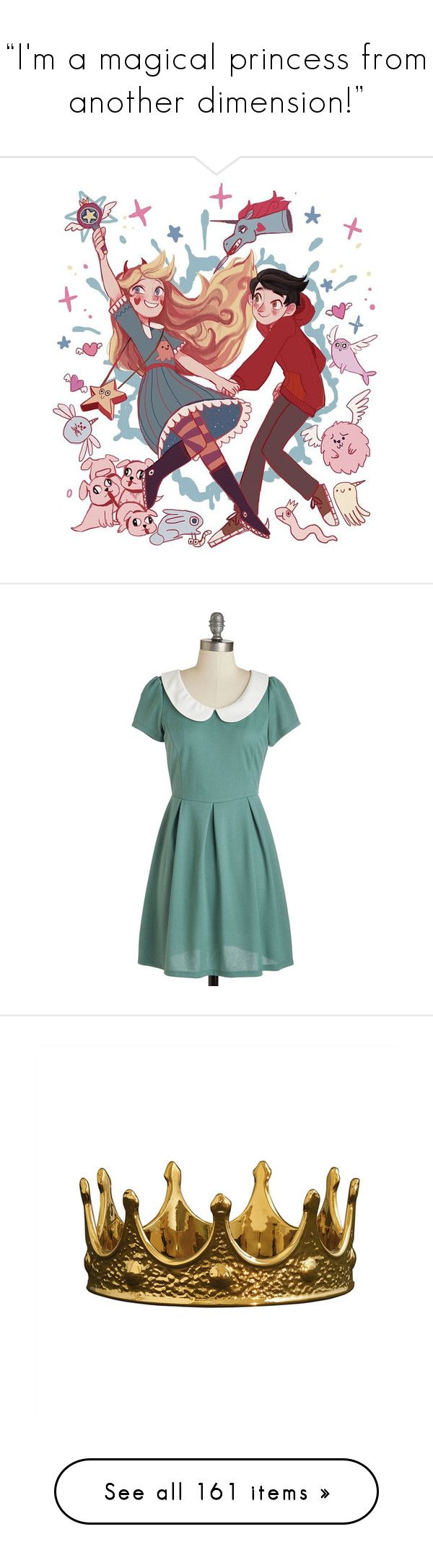 """""""""""I'm a magical princess from another dimension!"""""""" by ginger-coloured ❤ liked on Polyvore featuring Starco, dresses, vestidos, modcloth, robe, green, apparel, fashion dress, peter pan dress and short-sleeve dresses"""