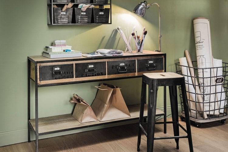 Une table console esprit industriel bureau metal