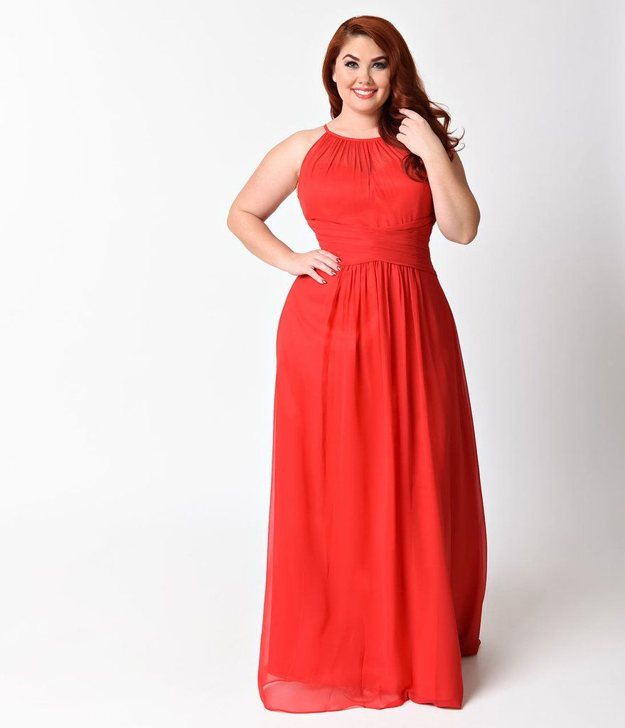 Plus size red sexy sleeveless halter long dress classy caitlin in