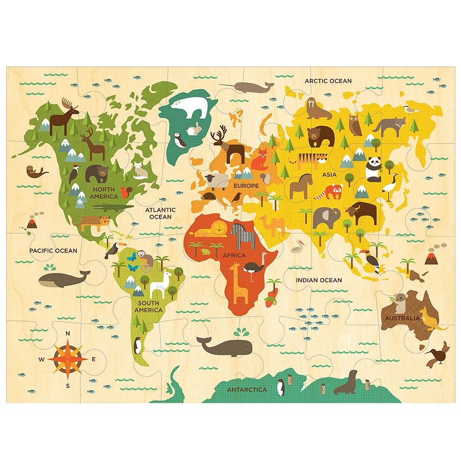 World map floor puzzle collage artwork and big around the world floor puzzle petit collage world map puzzle features vibrant engaging artwork gumiabroncs Choice Image