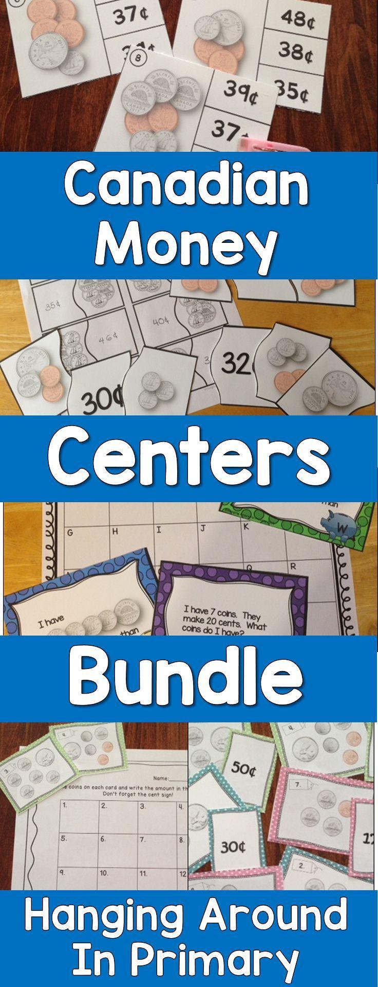 Math Centers for Canadian Money ~ MEGA Bundle | Math, Teacher and ...