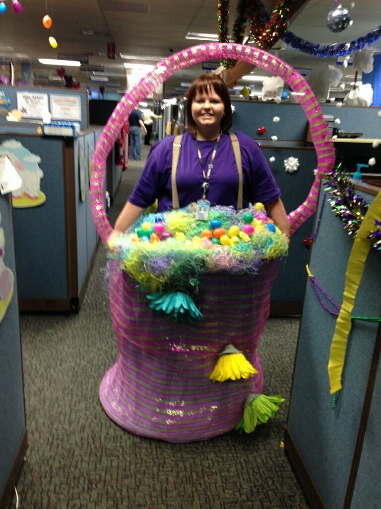 My Halloween costume. 3 Hula hoops, material, hot glue gun, suspenders and Easter decorations and I was an Easter Basket.