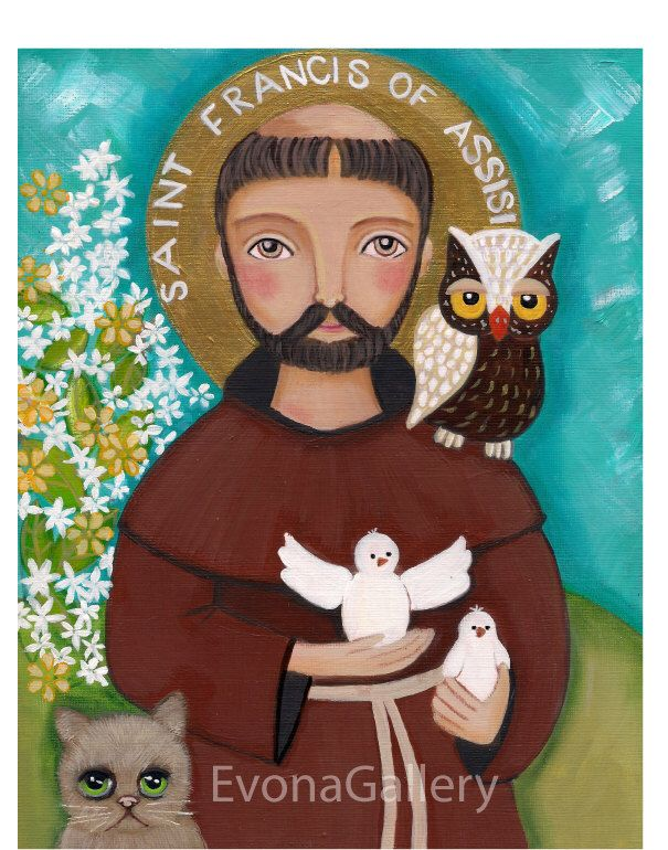 Folk Art  Painting, St. Francis of Assisi, Print  8x 10in,, Mixed Media, Wall Decore by Evona by Evonagallery on Etsy https://www.etsy.com/listing/204247727/folk-art-painting-st-francis-of-assisi