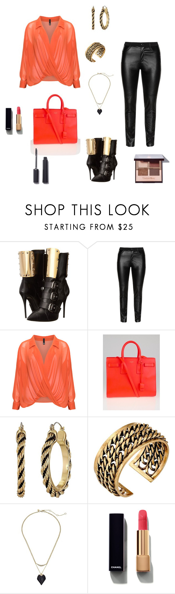"""""""Untitled #811"""" by denaye-mo ❤ liked on Polyvore featuring Giuseppe Zanotti, DNY, Manon Baptiste, Yves Saint Laurent, GUESS, Lucky Brand, Alexis Bittar, Chanel and Giorgio Armani"""