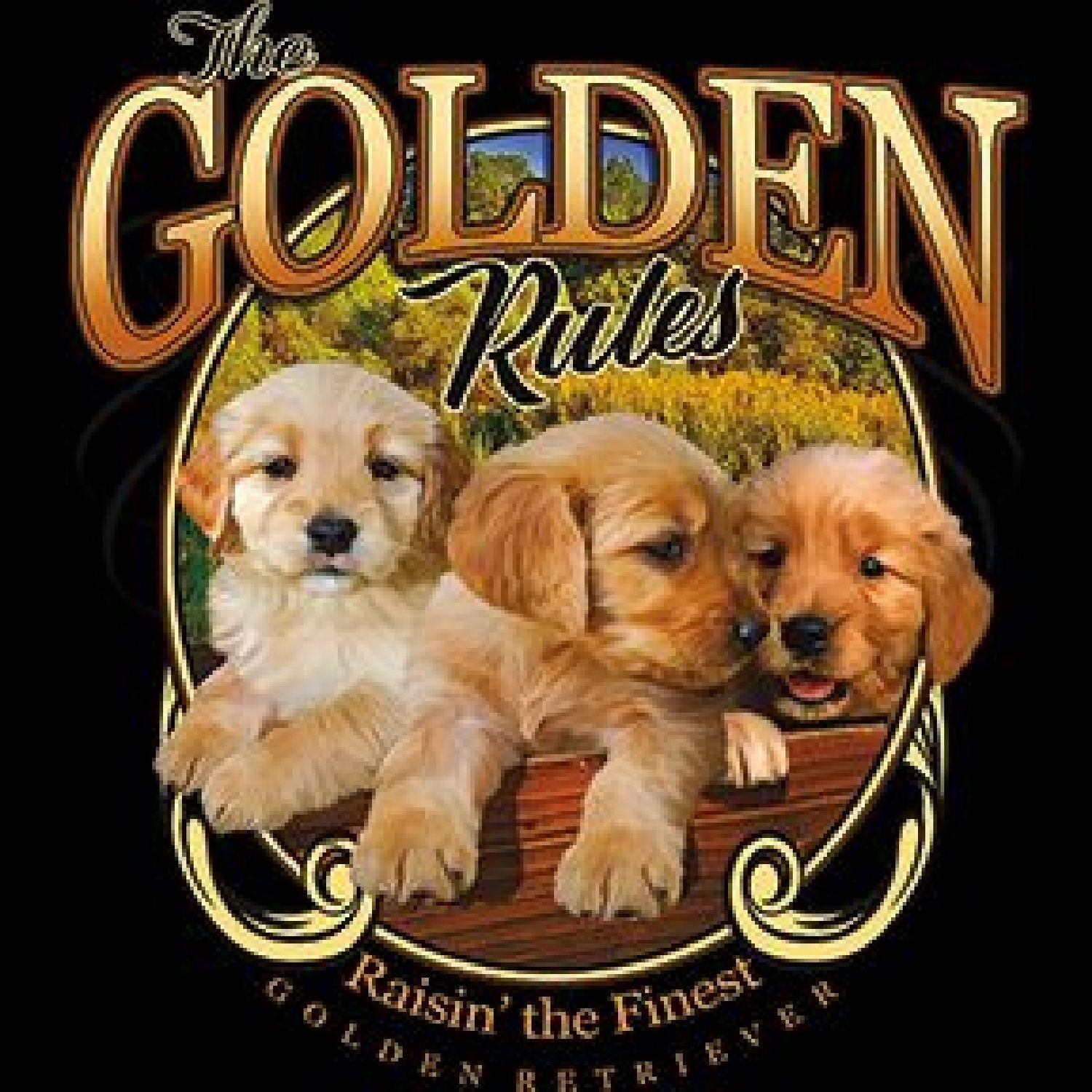 Golden Retriever The Golden Rule Dog Puppies Womens Short Sleeve T