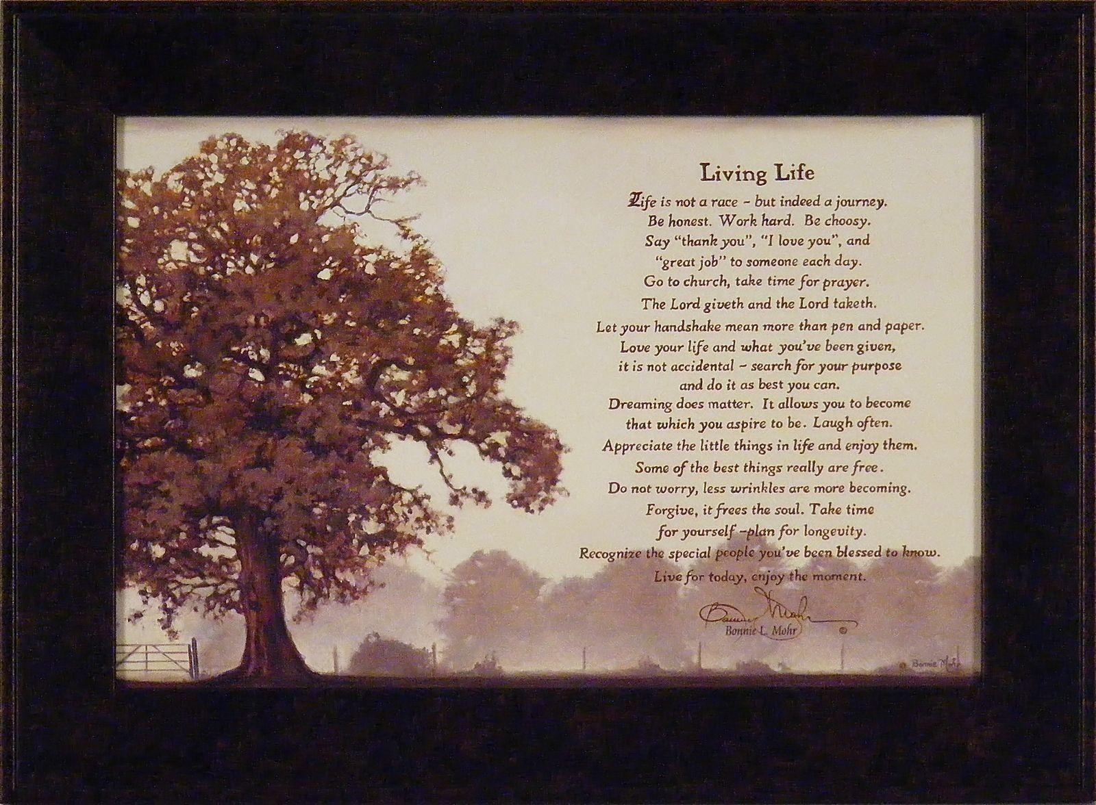 Living Life Bonnie Mohr Quote Bonnie Mohr Living Lifeliving Lifequotbonnie Mohr 16X22