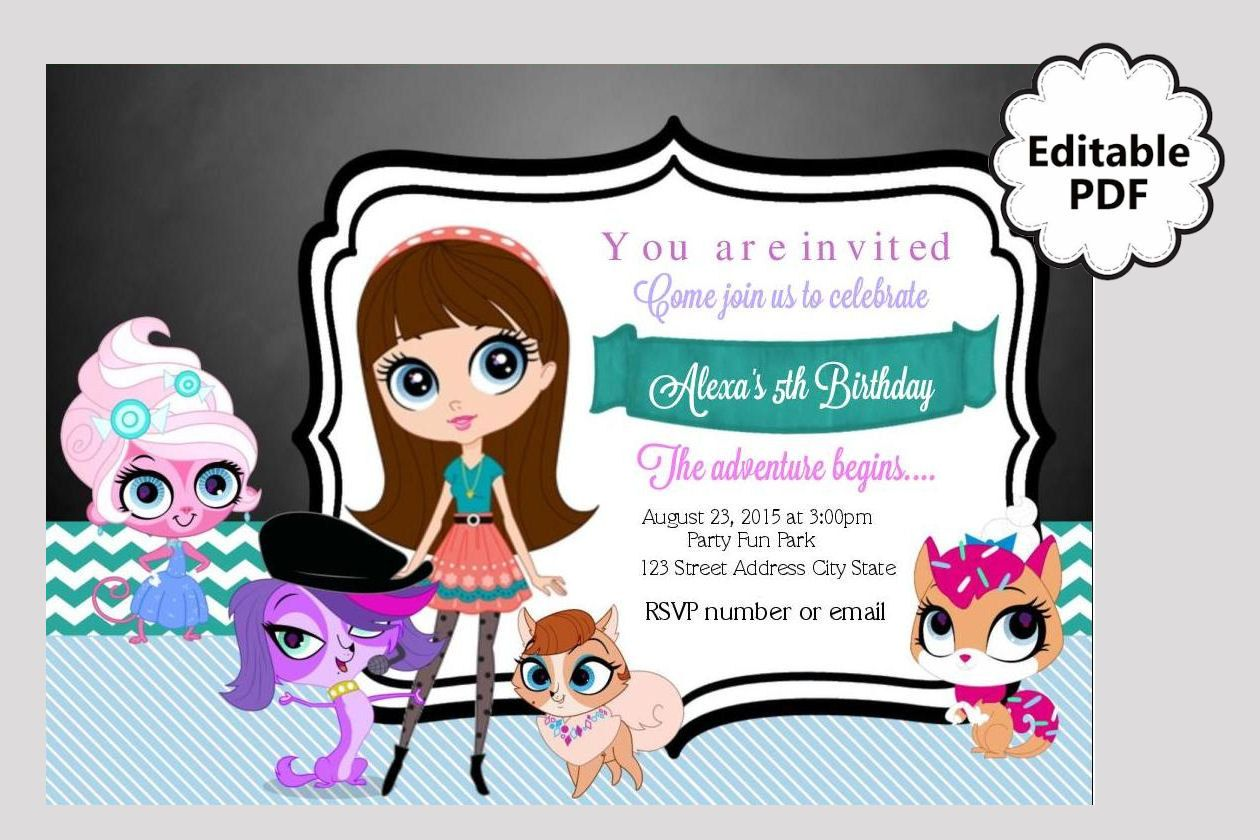 Free printable birthday invitation template my little pet shop ...