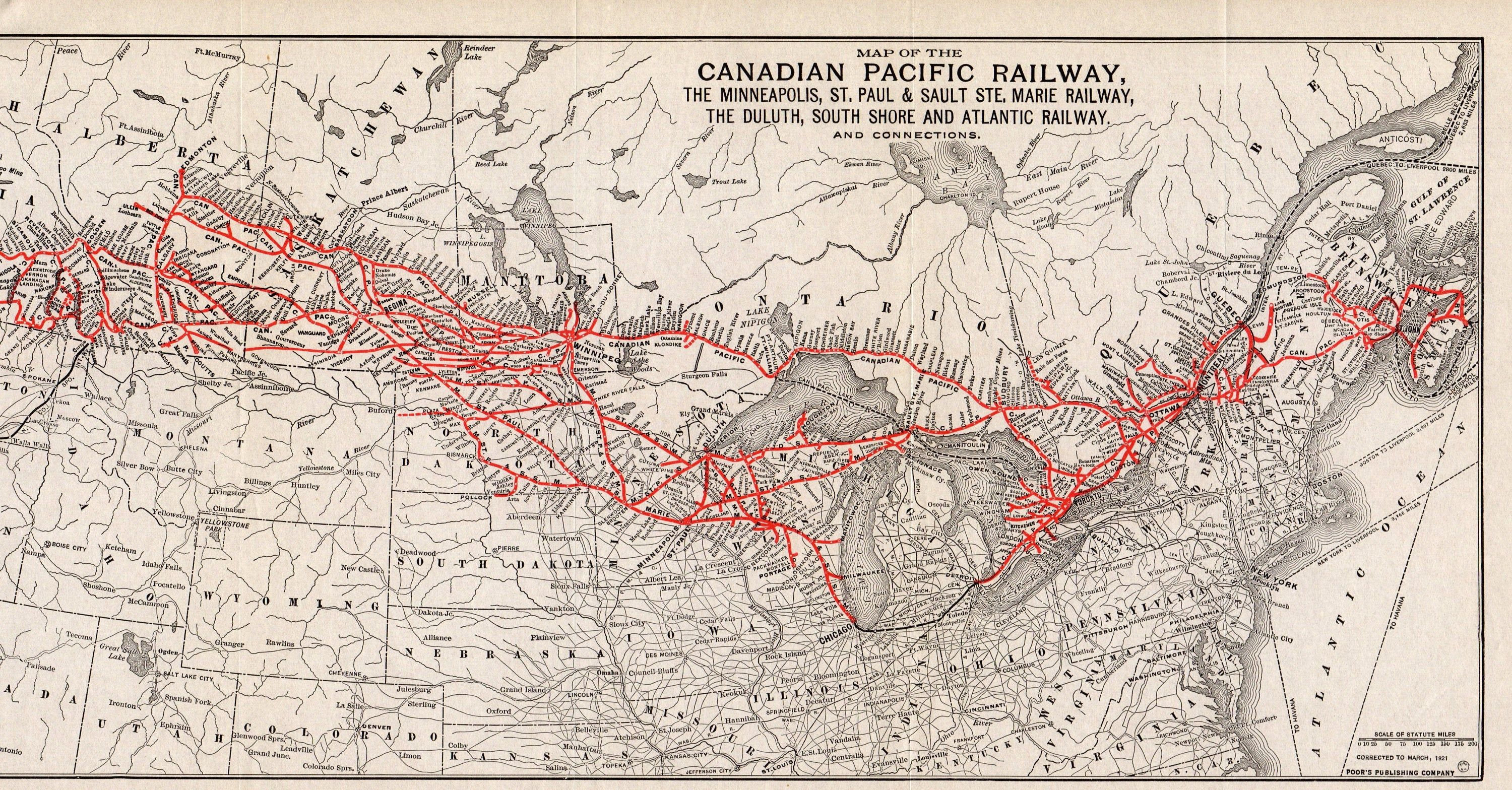 Canadian Pacific Railway Track Map Canada 1921 Antique Canadian Pacific Railway Map Duluth South Shore and