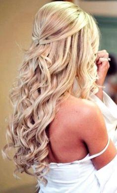 Image result for half up half down prom hair medium length