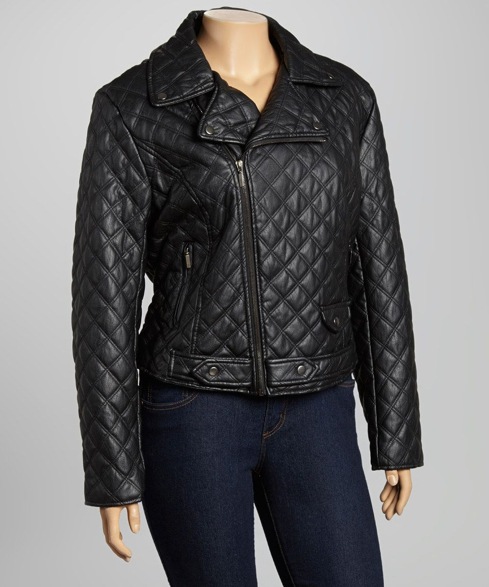 zulily! Black Quilted Moto Jacket