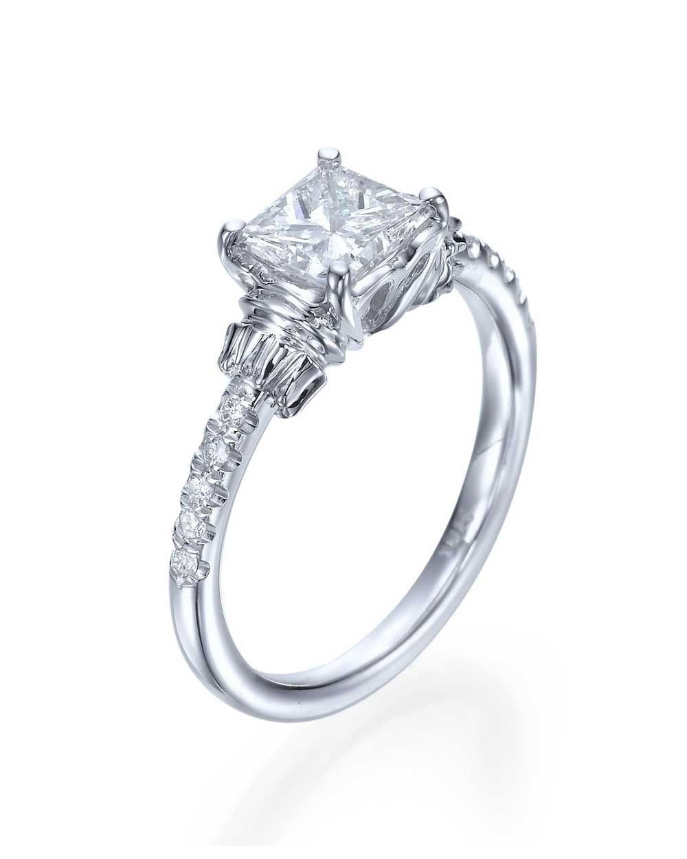 Princess Cut Vintage Engagement Ring in White Gold or Platinum