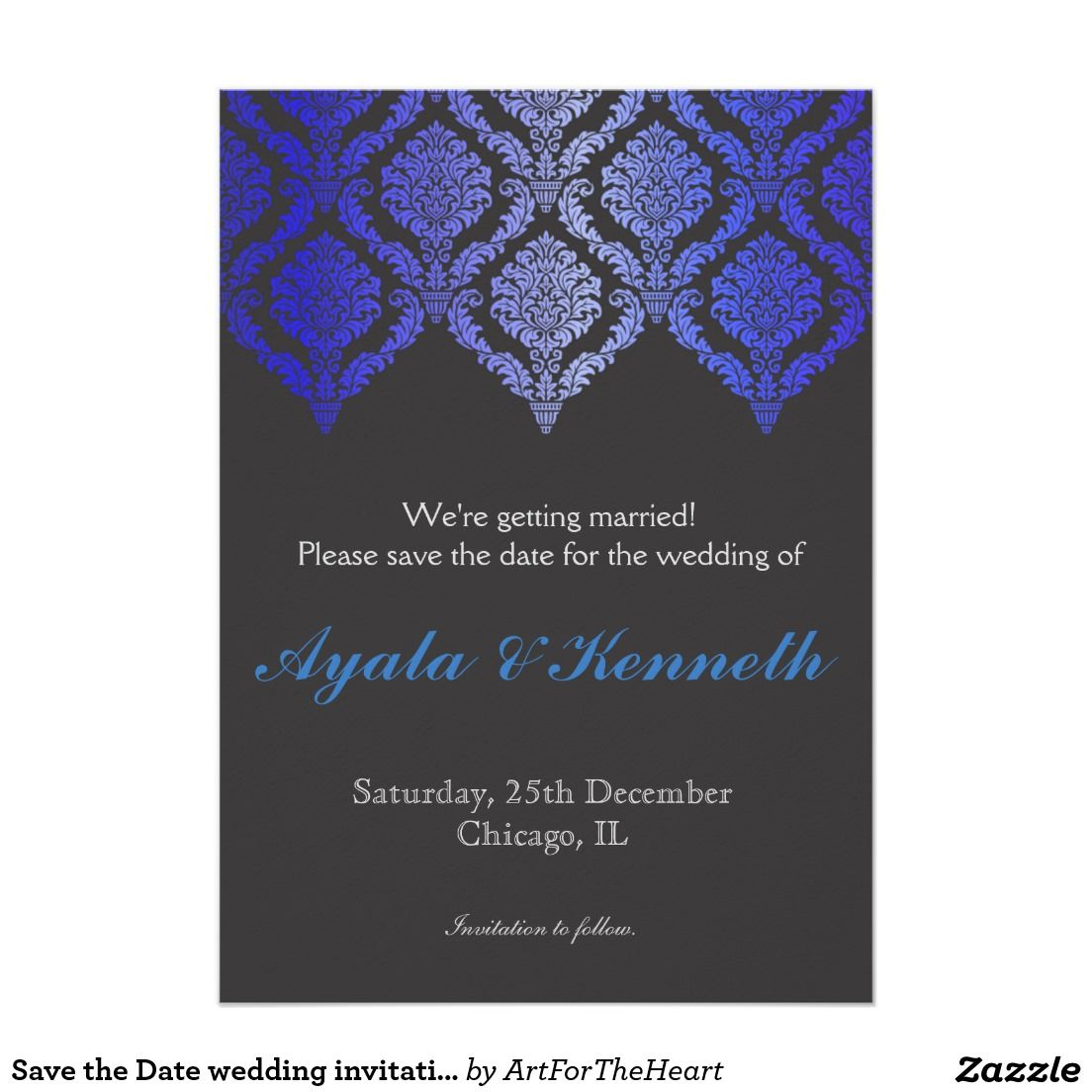 Save the date wedding invitation card invite blue save the date save the date wedding invitation card invite blue stopboris Choice Image