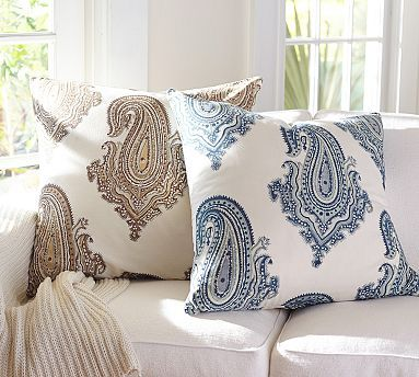 Navy Paisley Pillow For The Living Room Couch Gabi