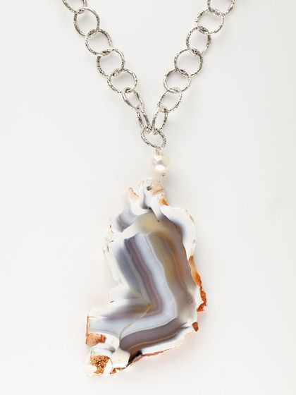 Pearl & agate slice pendant necklace by Alanna Bass Jewelry.