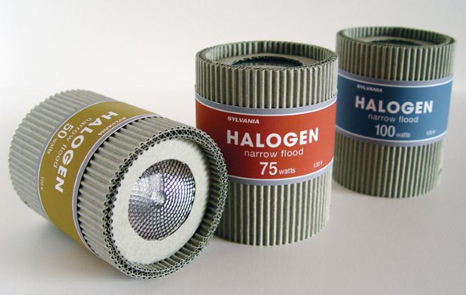 Halogen lamp package. Corrugated packaging, Electronics