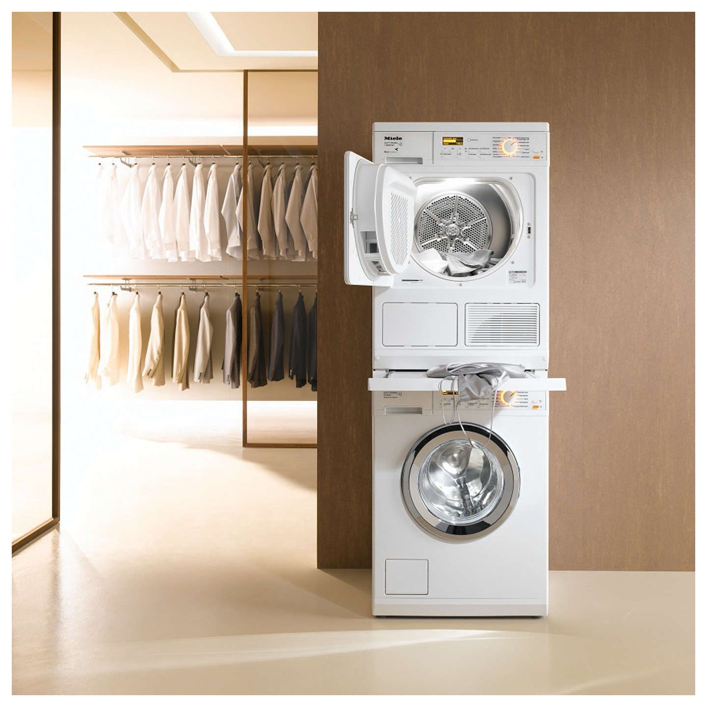 Miele Wtv406 Stacking Kit Lotus White In 2019 Laundry Contemporary Laundry Cupboard Minotti Furniture Laundry