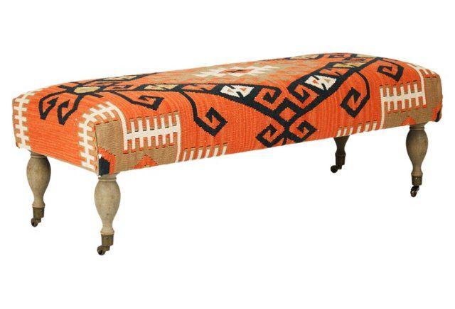 Cora Kilim Bench, Orange/Brown | Dining room | Pinterest | Bench ...