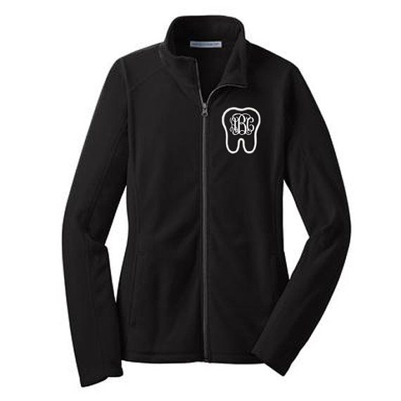 Personalized Monogrammed Tooth Full-Zip Fleece LADIES Jacket * Embroidered  Initials Dentist Hygienist RDH CDA Dental Assistant Womens Gift