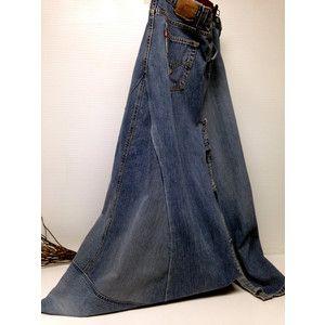 Levi Strauss Women's Long Blue Jean Maxi Skirt 27 Side Slit Front ...